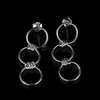 Handmade Sterling Silver 925 Triple Open Circle Link Dangle earrings