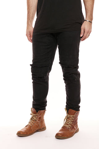 The Thompson Moto Ripped Denim - BLK