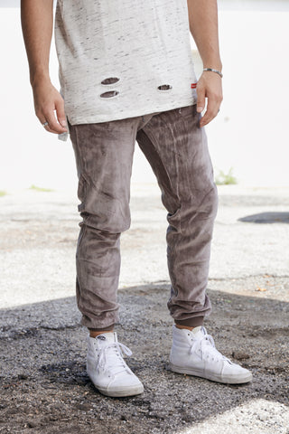Boxing Day Velour Joggers - GRY