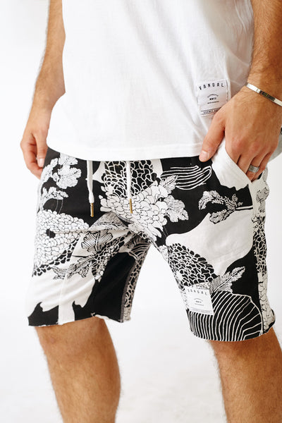 BLACK ROYAL FLORALS THOMPSON JOGGER SHORTS