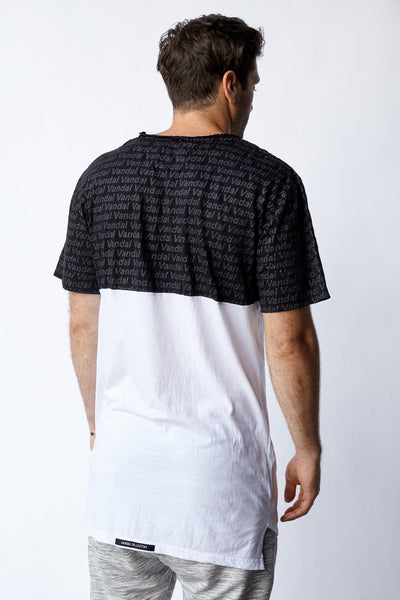 STAMPED FADED HALFIE TEE - BLK