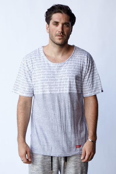 STAMPED FADED HALFIE TEE - GRY