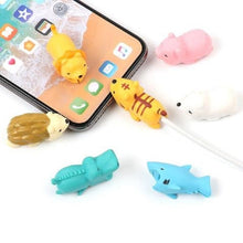 Load image into Gallery viewer, Dropshipping 1pcs Protector for Iphone cable Winder Phone holder Accessory chompers rabbit dog cat Animal doll model funny