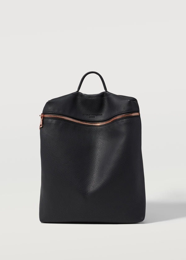 Black Nappa Medium Backpack