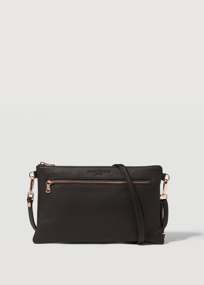 Black Nappa Dual Zip Crossbody