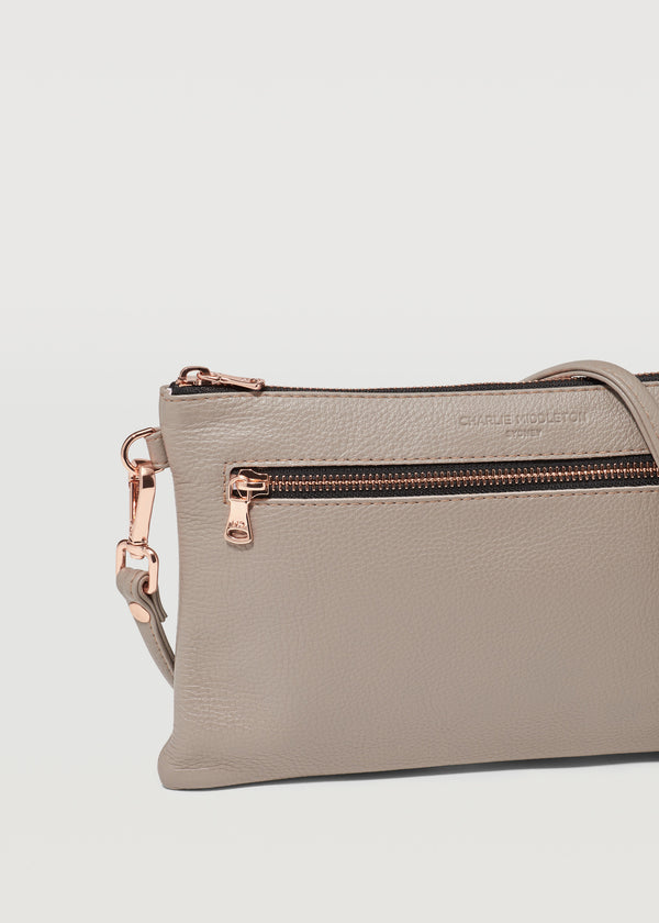 Taupe Vogue Dual Zip Crossbody