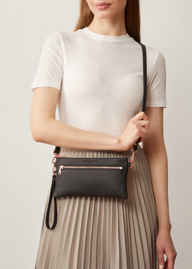 Black Nappa Mini Dual Zip Crossbody