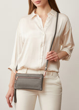 Grey Nappa Mini Dual Zip Crossbody
