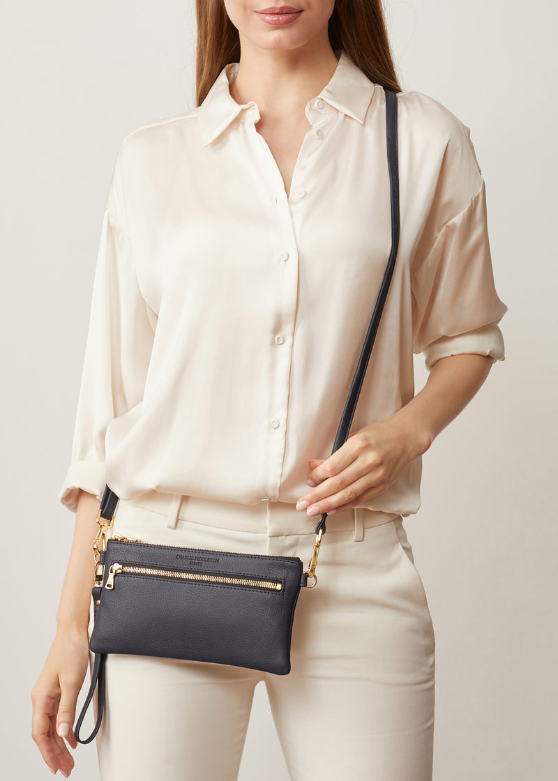 Navy Nappa Mini Dual Zip Crossbody