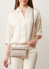 Taupe Vogue Mini Dual Zip Crossbody