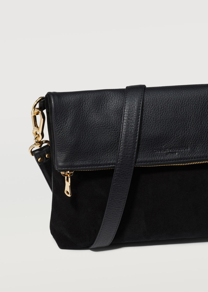 Black Two Tone Fold Over Satchel