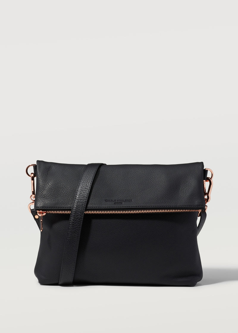 Black Nappa Fold Over Satchel