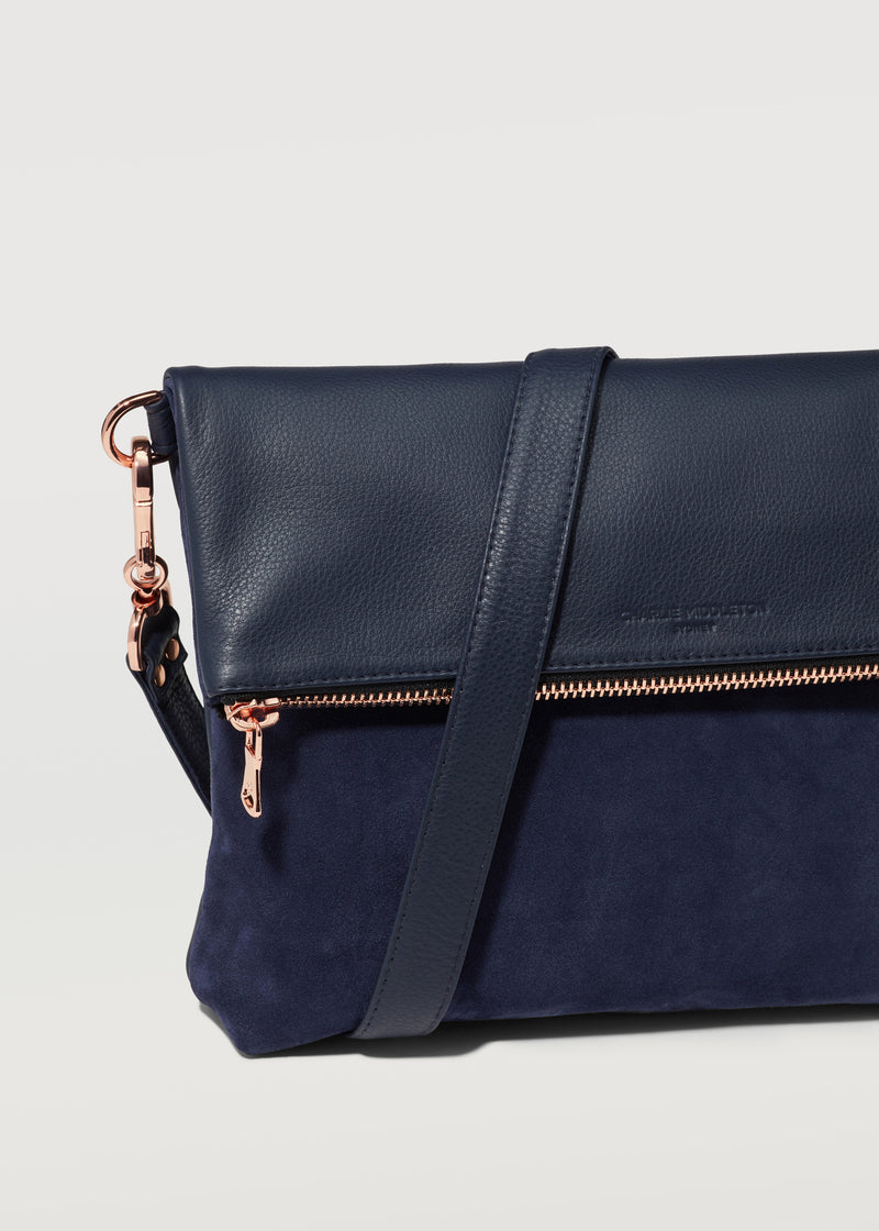 Midnight Two Tone Fold Over Satchel