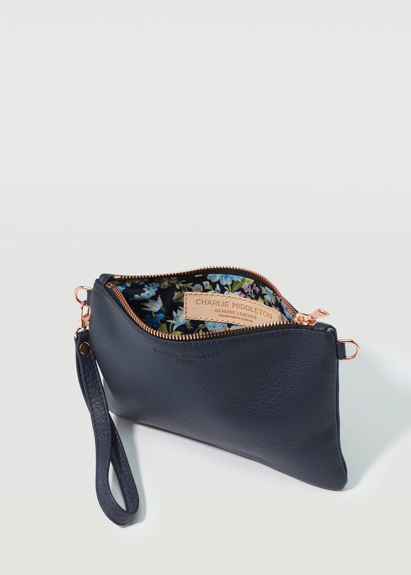 Navy Nappa Essentials Crossbody