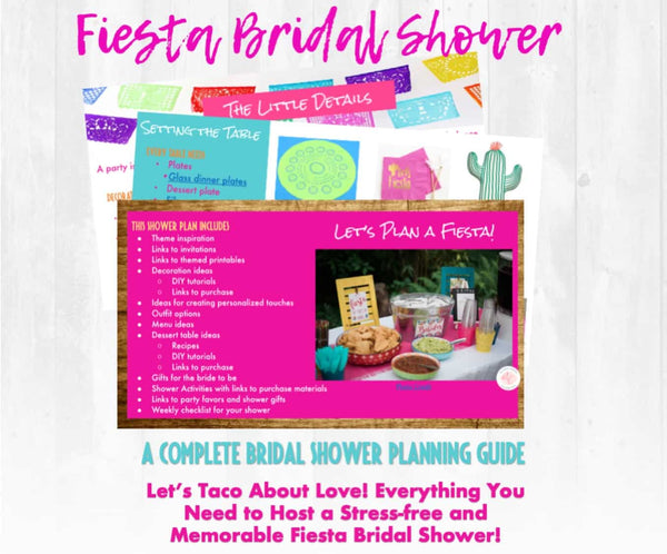 Let's taco about love! This Fiesta themed bridal shower planning guide and checklist has everything you need to host a stress-free and memorable shower for the bride to be in your life. This plan helps you save time, stress, and money so you can focus on what really matters- making memories and having fun at your shower! Let's plan a party you'll actually enjoy hosting! Complete shower planning guide and checklist by Allison Carter Celebrates