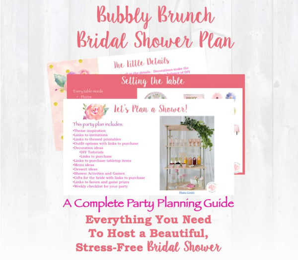 Let's pop the champagne! This Bubbly Brunch themed bridal shower planning guide and checklist has everything you need to host a stress-free and memorable shower for the bride to be in your life. This plan helps you save time, stress, and money so you can focus on what really matters- making memories and having fun at your shower! Let's plan a party you'll actually enjoy hosting! Complete shower planning guide and checklist by Allison Carter Celebrates