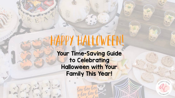 Download your Halloween celebration guide from Allison Carter Celebrates for making memories and family traditions with these Halloween treat, kids activities, food and kids crafts ideas.