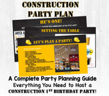 Caution! Party ahead! This first birthday party planning guide and checklist has everything you need to host a stress-free and memorable construction themed first birthday party for your little guy. This plan helps you save time, stress, and money so you can focus on what really matters- making memories and having fun at your party! Let's plan a party you'll actually enjoy hosting!
