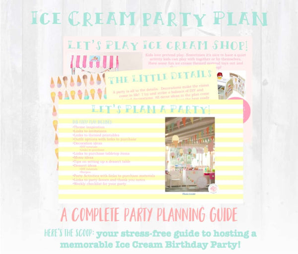 Here's the scoop! This sweet ice cream birthday party planning guide and checklist has everything you need to host a stress-free and memorable ice cream themed birthday party for your little one. This plan helps you save time, stress, and money so you can focus on what really matters- making memories and having fun at your party! Let's plan a party you'll actually enjoy hosting!