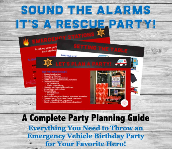 Sound the alarms-we've got a birthday to celebrate! This fun emergency vehicle birthday party planning guide and checklist has everything you need to host a stress-free and memorable rescue hero birthday party for your little boy. This plan helps you save time, stress, and money so you can focus on what really matters- making memories and having fun at your party! Let's plan a party you'll actually enjoy hosting! Complete party planning guide and checklist from Allison Carter Celebrates