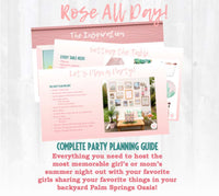 Rose all day, baby! This vintage Palm Springs inspired party planning guide and checklist has everything you need to host a stress-free memorable Rose All Day themed Favorite Things Party for your best girlfriends . This plan helps you save time, stress, and money so you can focus on what really matters- making memories and having fun at your party! Complete party planning guide and checklist at allisoncartercelebrates.com