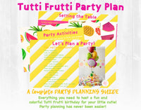 Tutti Frutti and such a Cutie! You're sweetie has a birthday to celebrate! This fun and colorful Tutti Frutti birthday party planning guide and checklist has everything you need to host a stress-free and memorable fruity birthday party for your little one. This makes for the perfect 2nd birthday theme also! This plan helps you save time, stress, and money so you can focus on what really matters- making memories and having fun at your party! Let's plan a party you'll actually enjoy hosting! See the full...