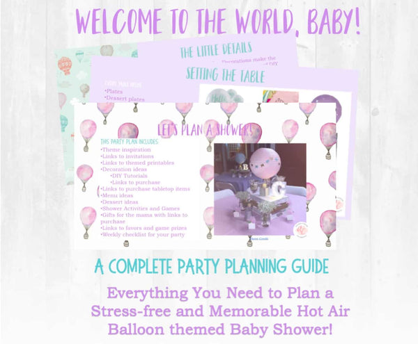 Next stop, parenthood! This beautiful welcome to the world baby shower planning guide and checklist has everything you need to host a stress-free and memorable hot air balloon themed baby shower for a mama to be. This plan helps you save time, stress, and money so you can focus on what really matters- making memories and having fun at your shower! Let's plan a party you'll actually enjoy hosting! Complete party planning guide and checklist from Allison Carter Celebrates