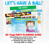 Ball themed first birthday party planning guide and checklist. All the best find and tips on hosting a ball party for your little one's first birthday. Your party plan will save you time, money and stress. Party planning has never been easier!