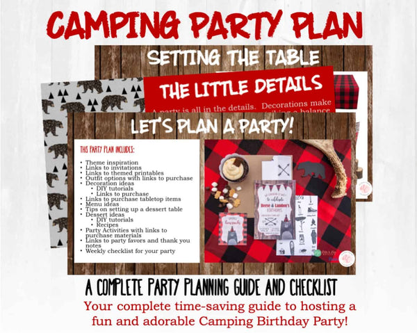 The mountains are calling! This party planning guide and checklist has everything you need to save time hosting a stress-free, memorable Camping themed birthday for your little nature lover. This plan helps you save time, stress, and money so you can focus on what really matters- making memories and having fun at your party! Download complete party planning guide and checklist at allisoncartercelebrates.com