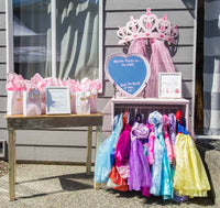 Princess dress-up station: from the princess party planning guide and checklist- everything you need, including all links to purchase to help you host a stress-free party for your little princess!