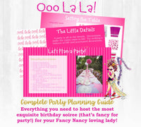 Ooo La La! This birthday party planning guide and checklist has everything you need to host a stress-free and memorable Fancy Nancy themed birthday party for your fabulous little girl. This plan helps you save time, stress, and money so you can focus on what really matters- making memories and having fun at your party! Let's plan a party you'll actually enjoy hosting!