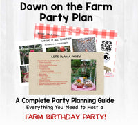 YeeHaw! This farm birthday party planning guide and checklist has everything you need to host a stress-free and memorable Farm themed birthday party for your little one. This plan helps you save time, stress, and money so you can focus on what really matters- making memories and having fun at your party! Let's plan a party you'll actually enjoy hosting!