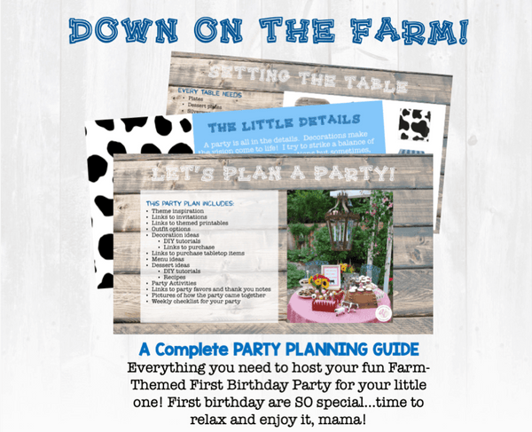 Oink, Moo, Cock a Doodle Doo, we want to celebrate with you! This party planning guide and checklist has everything you need to host a stress-free memorable Farm themed first birthday for your little farmer. This plan helps you save time, stress, and money so you can focus on what really matters- making memories and having fun at your party!