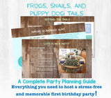 Frogs, Snails, and Puppy Dog Tails...that's what your little boy is made of! A complete party planning guide with everything you need to host a first birthday for your little boy. Links to purchase all materials and supplies needed. You get the convenience of having the party planned for you...with the memories that'll last a lifetime!