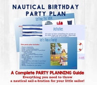Ahoy matey! Your baby is already ONE and it's time for a sailabration! A complete party planning guide with everything you need to host a nautical themed first birthday for your little one. Links to purchase all materials and supplies needed. You get the convenience of having the party planned for you...with the memories that'll last a lifetime!