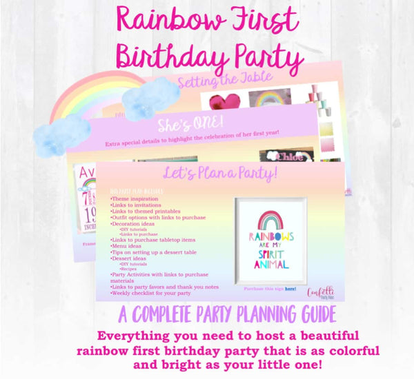 What an adventure this year has been! A complete party planning guide with everything you need to host a rainbow themed first birthday for your little one. Links to purchase all materials and supplies needed. You get the convenience of having the party planned for you...with the memories that'll last a lifetime!