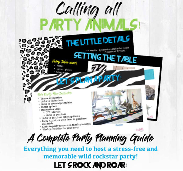 images from a Party Animals Party Planning Guide on light white wood background