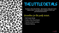 text on a black background with black and white leopard print outlining decor options for a party animals themed party