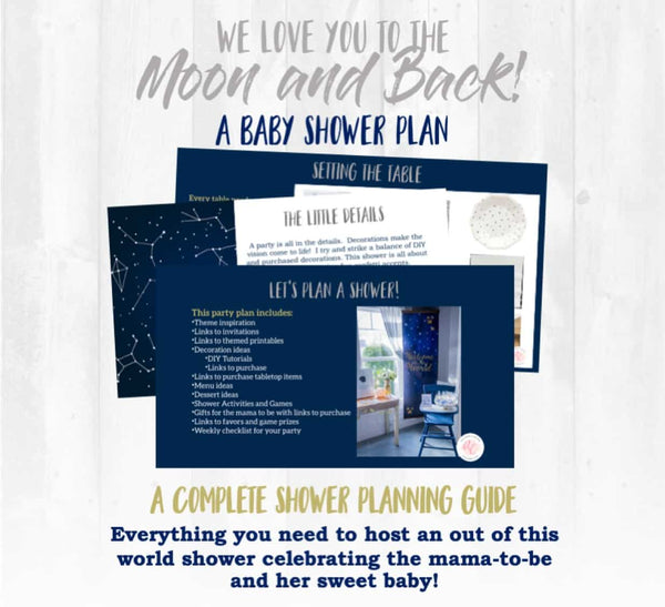 We love you to the moon and back! This baby shower planning guide and checklist has everything you need to host a stress-free and memorable space and star themed baby shower for the sweet mama to be in your life. This plan helps you save time, stress, and money so you can focus on what really matters- making memories and having fun at your shower! Let's plan a party you'll actually enjoy hosting!
