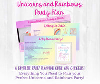 This party planning guide and checklist has everything you need to host a stress-free memorable unicorn and rainbow themed birthday for your little one. This plan helps you save time, stress, and money so you can focus on what really matters- making memories and having fun at your party!
