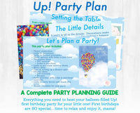 Time flies! This balloon-filled Up! first birthday party planning guide and checklist has everything you need to host a stress-free memorable Up! themed birthday for your little one. This plan helps you save time, stress, and money so you can focus on what really matters- making memories and having fun at your party!