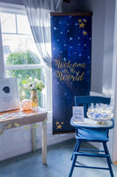 Welcome table at a space themed baby shower. Welcome to the world, baby!