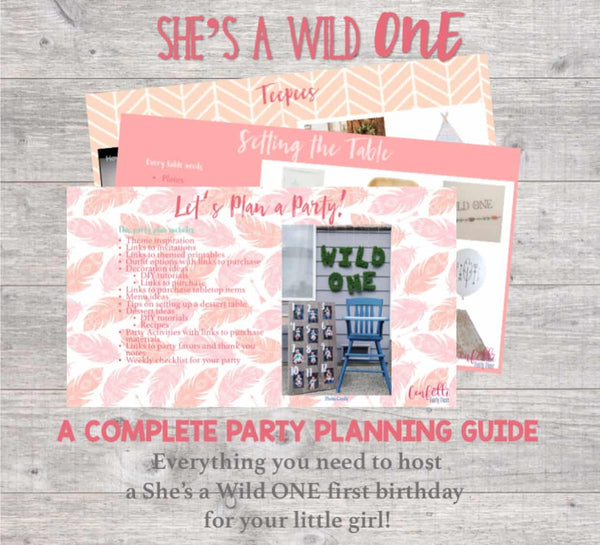 What an adventure this year has been! A complete party planning guide with everything you need to host a Wild One first birthday for your little girl. Links to purchase all materials and supplies needed. You get the convenience of having the party planned for you...with the memories that'll last a lifetime!