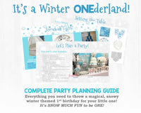 It's SNOW MUCH FUN to be ONE! This party planning guide and checklist has everything you need to host a stress-free memorable Winter ONEderland themed first birthday for your little one. This plan helps you save time, stress, and money so you can focus on what really matters- making memories and having fun at your party!