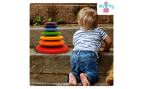 Wufiy wooden pebble stacking toy