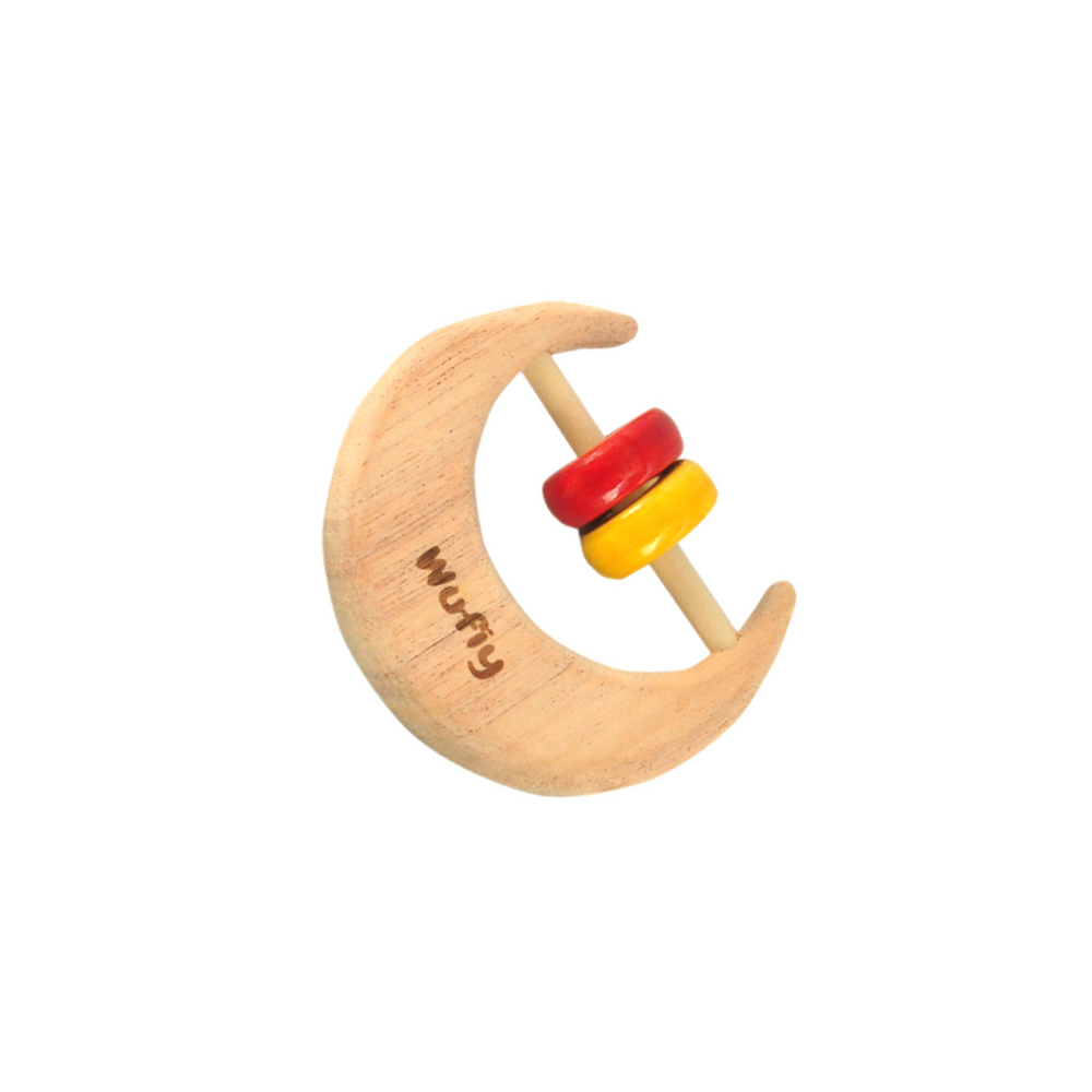 Half Moon Neem Wood Baby Rattle - Red & Yellow