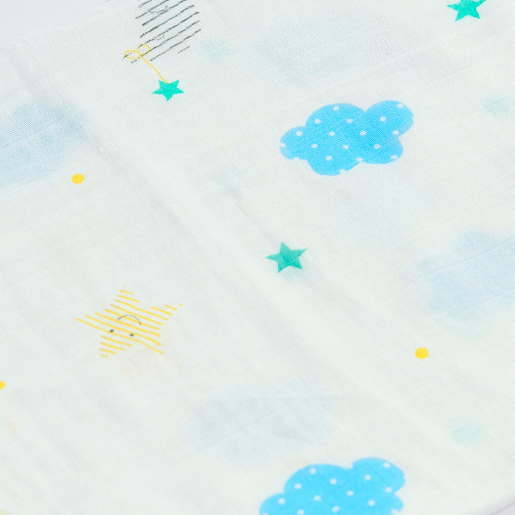 Baby Swaddle | Cloud & Stars Print | 100% Bamboo Muslin