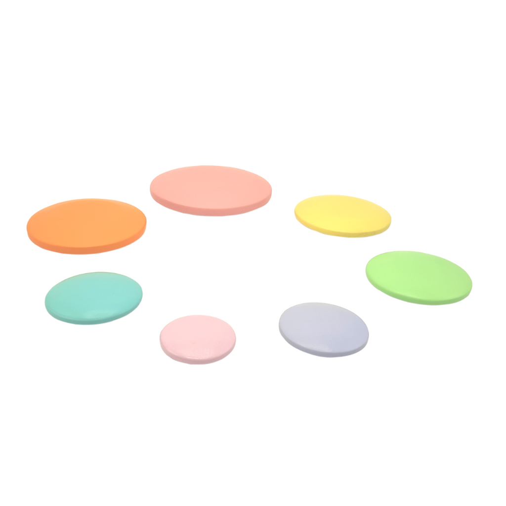 rainbow wooden pebble stacking ring toy