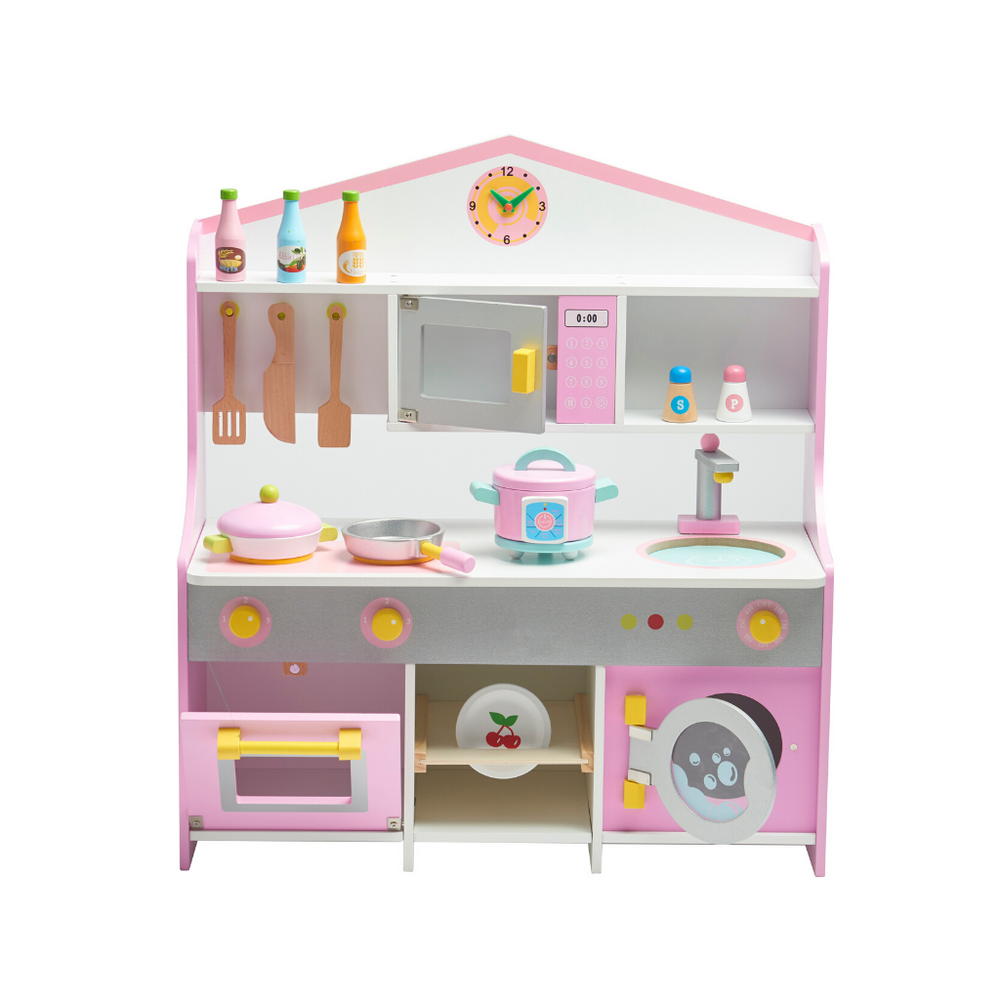 Wooden Pink & White Kitchen Set With Accessories  ( 72.5H x 62L x 28B)