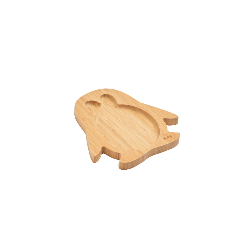 WUFIY WOODEN PENGUIN SHAPE PLATE + FREE SET OF SPOONS